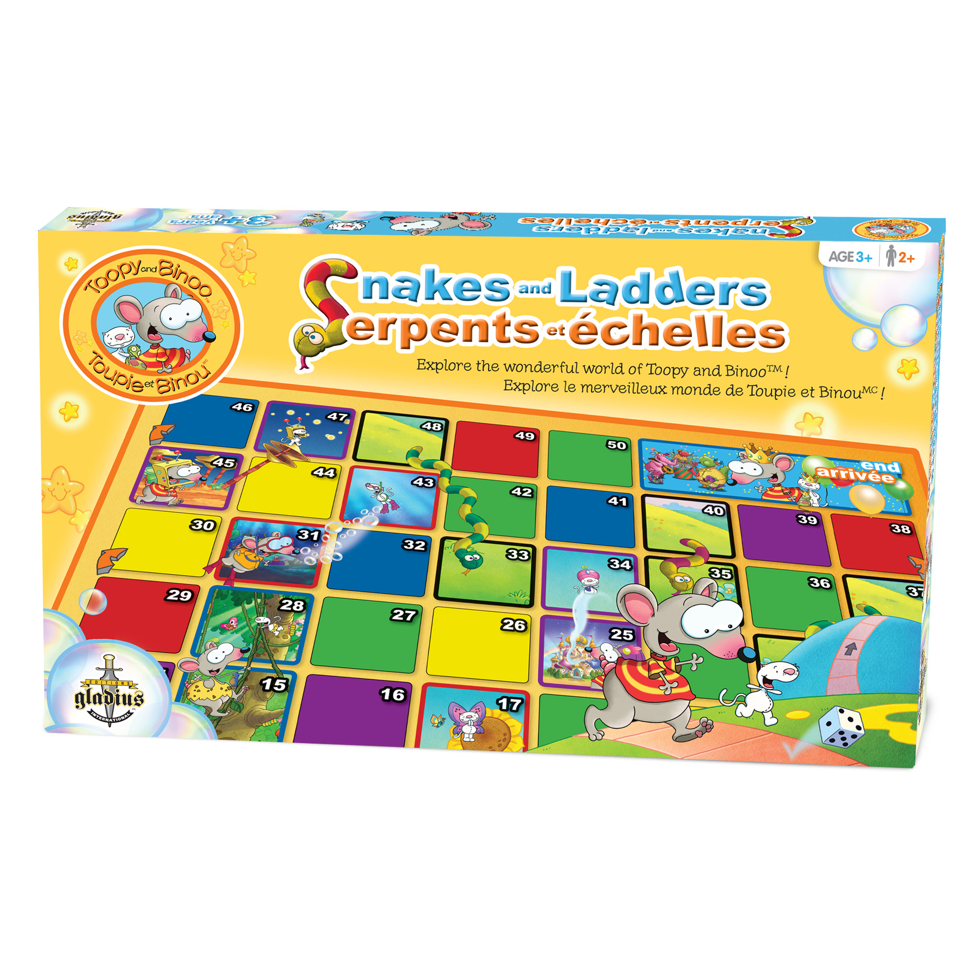 Serpents et échelles - Toupie et Binou boîte / Snakes and Ladder - Toopy and Binoo box