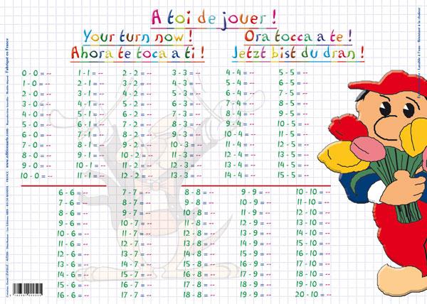 Jeux De Soci T Napperon D 39 Apprentissage Mes Tables De Soustraction Logico Math Matique